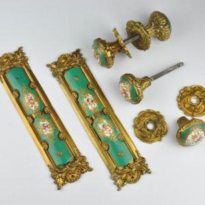 Antiiksed ukse käepidemed, pronks, portselan, käsimaal MÜÜDUD