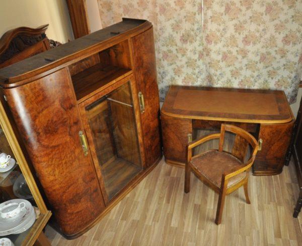 Art deco stiilis kirjutuslaud, raamatukapp ja kirjutuslaua tool