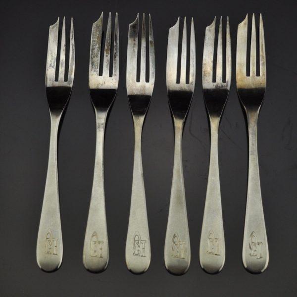 Antique cake forks, silver 875, Theodor Grühn