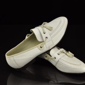 Flash men's white leather shoes