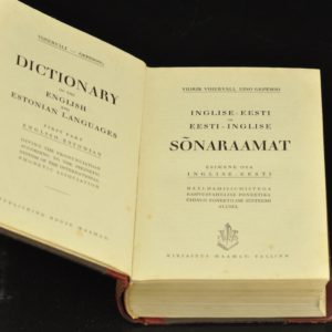 "EW's book ""English-Estonian and Estonian-English Dictionary"" in 1937y"