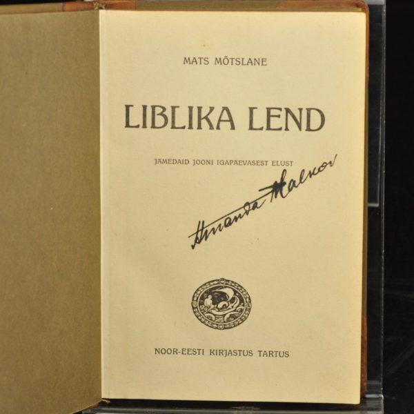 """EW aegne raamat Mats Mõtslane """"Liblika lend"""" 1927"""