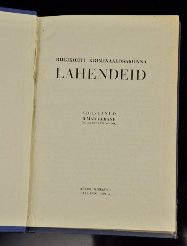 EW raamat- Riigikohtu kriminaalosakonna LAHENDEID 1935-1938, 1939a
