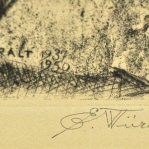 "Eduard Wiiralt (1898-1954) ""Tiger with Cat"" 1937-1950"