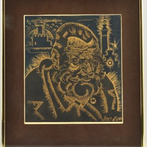 """Eduard Wiiralt 1898-1954 """"The Head of the Old Man. The Planetary Plan"""" 1920s"""