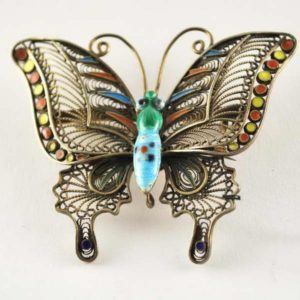 Butterfly brooch with enamel