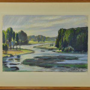 """Ernst Hallop (1908-1980) passion """"Värska Landscape"""" in 1966"""