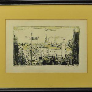 """Evald Okas (1915-2011) """"Tallinn"""" autolito in 1966"""