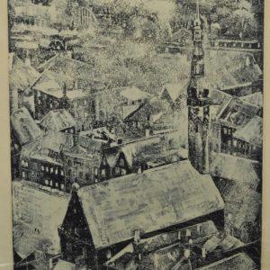 "Evald Okas (1915-2011) ""Tallinn Town Hall"" aquatint in 1971"