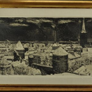 "Evald Okas (1915-2011) ""Tallinn Towers"" forort, akvatinta 1970a SOLD"