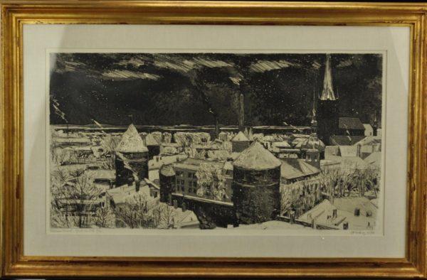 """Evald Okas (1915-2011) """"Tallinna tornid"""" ofort,akvatinta 1970a MÜÜDUD"""