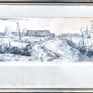"Evald Okas Karala küla"", ofort 1958a."""