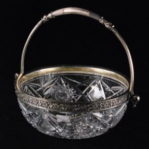 Silver edged crystal bowl