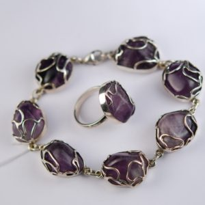 Silver 830 bracelet and ring with amethyst