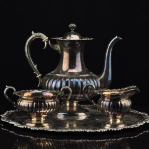 Silver set – coffee pot, cream bar, sugar cane and tray 1969a Finland