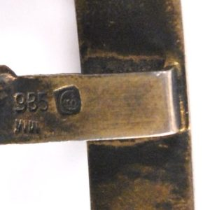 Silver buckle with enamel