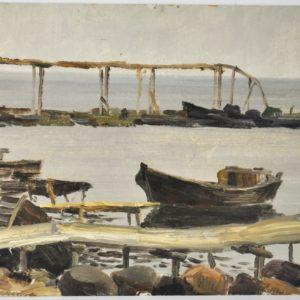 """Jaan Tuuling (1930-1998) Karepa sadamas""""õli, papp1958a MÜÜDUD"""""""