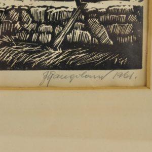 """Juhan Kangelaski Saaremaa rand"""" linool 1961a"""""""