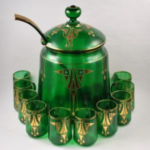 Art nouveau Punch Bowl with 10 glasses, green glass, gold decoration