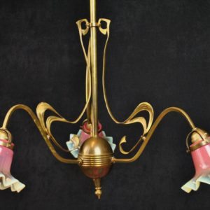 Art Nouveau pendant lamp, three pink domes