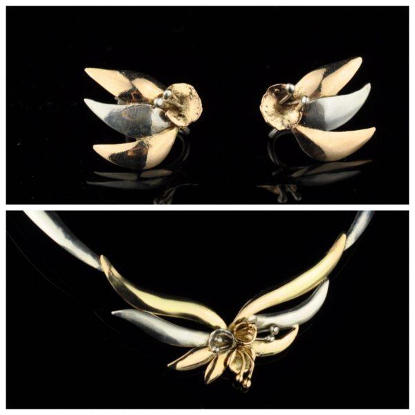 Kaelakee ja kõrvarõngad, kuld 500, hõbe