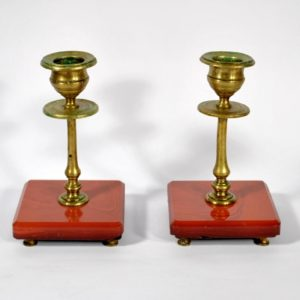 Two bronze candlesticks