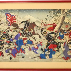 """Koloreeritud puugravüür Jaapani- Hiina sõja stseen"""" 19saj. 1Pool"""" 13483 Len:14101"""