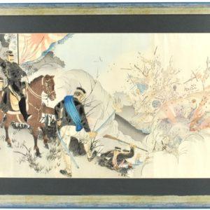"""Koloreeritud puugravüür Jaapani- Hiina sõja stseen"""" 19saj. 1Pool"""" 13484 Len:14102"""