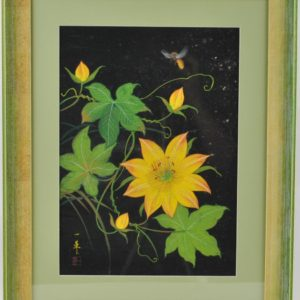 "Koloreeritud puugravüür Kollane lill mesilasega"""" 13482 Len:14100"