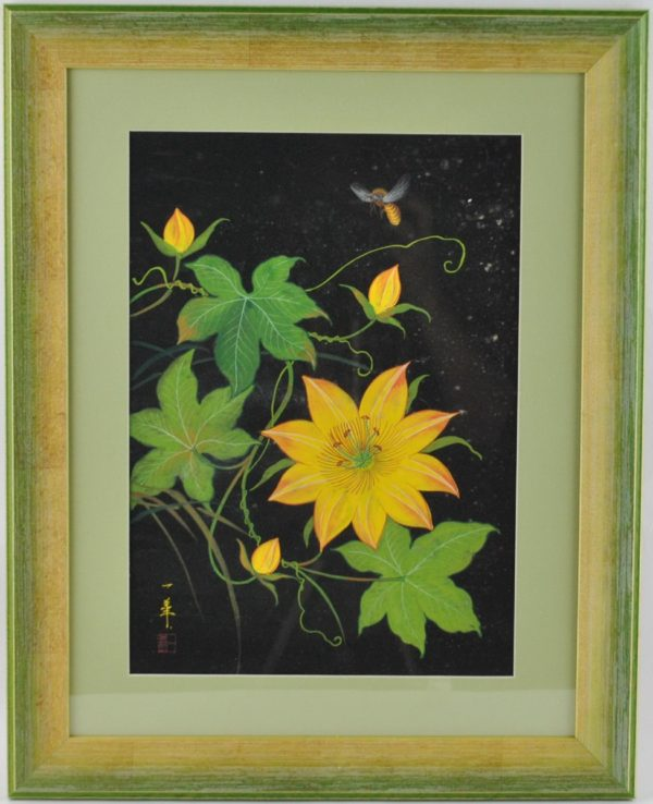 """Koloreeritud puugravüür Kollane lill mesilasega"""""""""""