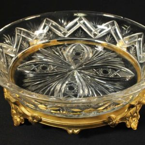 Crystal-bowl with bronze leg