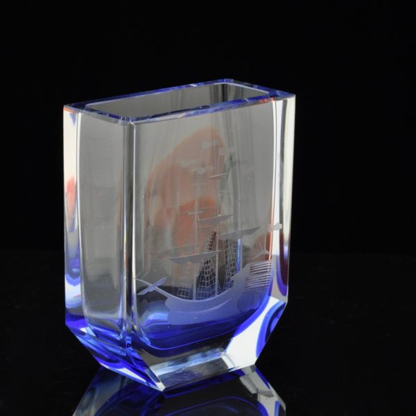 """Crystal Vase """"Peter's Catch"""" Leningrad Plant by A.M. Ostroumov"""