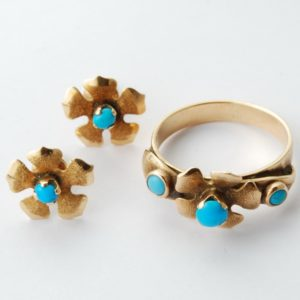 Gold 583 earrings, ring