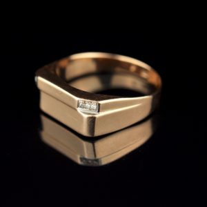 Gold ring 585, 4 x 0, 01ct diamond SOLD
