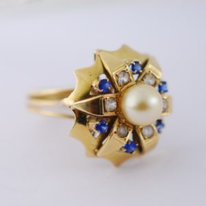Kuldsõrmus 585 - pärl, safiiridega