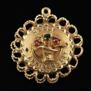 Gold pendant , 585 gold - engraved Happy Anniversary