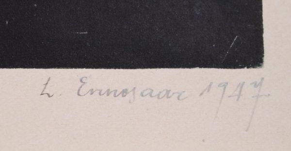 """L. Ennosaar 1947 - puugravüür Centrali varemed"""""""""""