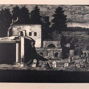 L. Ennosaar 1947 - wood engraving Central ruins