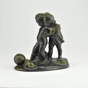 """L.B.-Zygeliene, sculpture """"Children with a Ball and the Runescape"""", Kaunas Art Works Factory, 1948-1960, clay, matt glaze."""