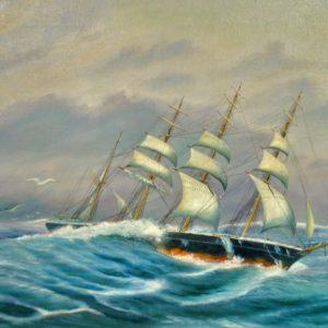 Laev merel õlimaal MÜÜDUD 7329 len:8833