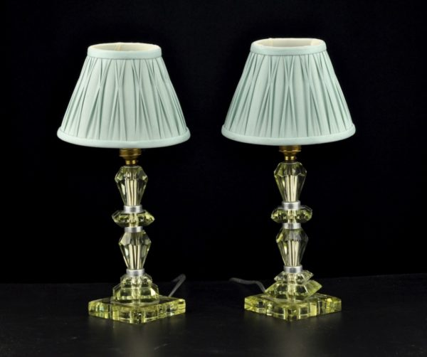 Table lamps, 2 pc with glass feet