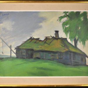 """Lembit Sarapuu Vana talumaja Rutjal"""" 1961a."""" 11994 Len:13239"""