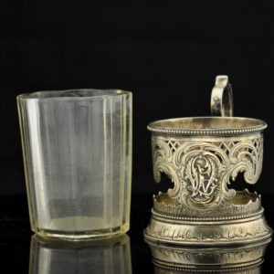 SOLD - Antique Imperial-Russian tea glass holder,84 silver