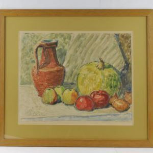Märt Bormeister Still-life with a jug and the pumpkin a monotype 1962