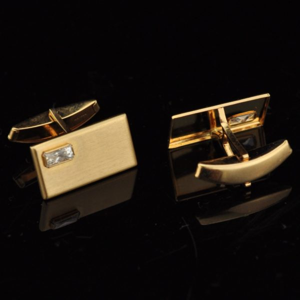 Cufflinks, 585 gold, fianite