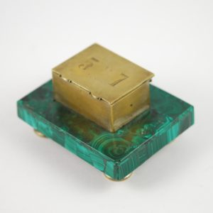 Box for stamps, malachite, bronze
