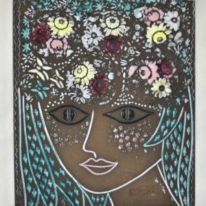 Mari Simulson (1911-2000) ceramic wall tile Flower Girl