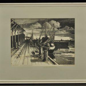 """Paul Kamm (1917-1979) Kõrgessaare kalasadam"""" lito 1967a"""""""
