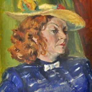 Picture Woman with a yellow hat pastel