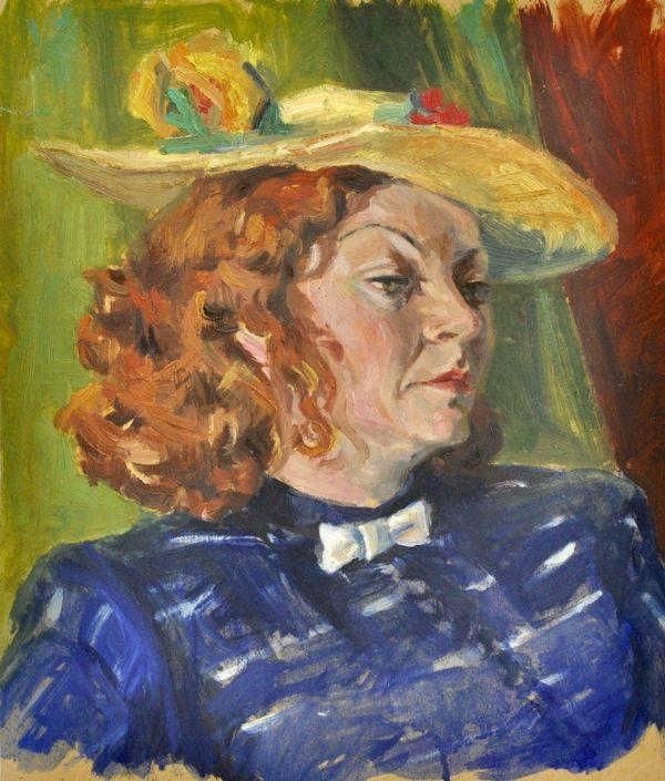 """Pilt Naine kollase kübaraga """" pastell"""""""